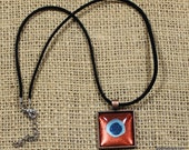 Peacock Eye - Copper Aquamarine Ocean Blue Pendant, Nail Polish Jewelry, Organza Ribbon Necklace