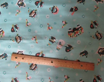 Blue Penguin/Snowman/Snowflake Toss Cotton Fabric by the Yard