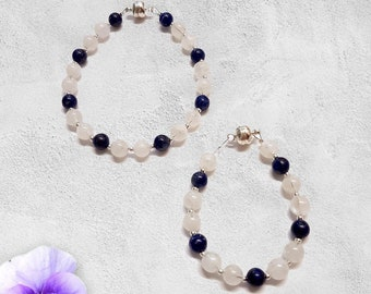 Mother And Baby Moonstone And Lapis Lazuli Matching Bracelets