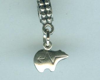 Sterling Silver HEARTLINE BEAR Bead Charm for  all Name Brand Add a Bead Bracelets -  Mini