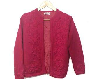 Vintage pink cardigan/Charles & Co. cardigan/knit sweater