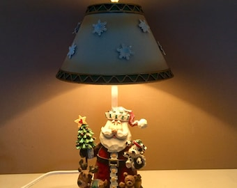 Cane wood lamp etsy vintage christmas table lamp santa claus and all the toys bed side table aloadofball