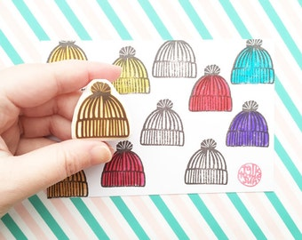 knitted cap rubber stamp | hat stamp | stamping supply for knitter | winter scrapbooking | diy gift wrapping | hand carved by talktothesun