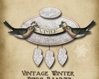 Vintage Winter Birds Banner Collage Sheet Printable Digital Download