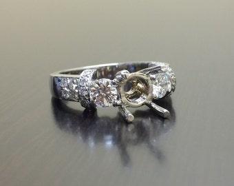 14K White Gold Diamond Engagement Ring - 14K Gold Pave Diamond Wedding Ring - 14K Gold Mounting - Three Stone Diamond Ring - Diamond Jewelry