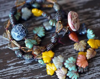Unlisted - Eclectic Leaf Necklace - Earthy Necklace - Bohemian Necklace - Long Necklace - Earth Tones - Bead Soup Jewelry