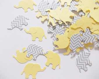 Elephant Confetti, Yellow & Gray Chevron Elephant Cutouts, Elephant Party Decoration, Baby Shower, 100 Ct.
