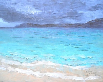 "Seascape Daily Painting, Caribbean Island Seascape, Small Oil Painting, ""Island TIme"" 6x8"" Oil, free shipping in US"