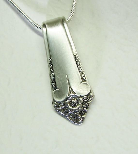 Spoon Necklace, Spoon Handle Pendant, Silverware Jewelry 'Starlight' 1950