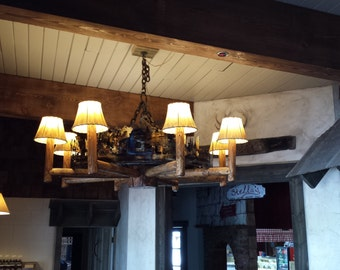 chandelier timbers and iron
