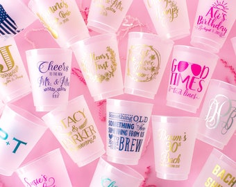 Personalized Wedding Cups, Custom Cups, Plastic Party Cups, Bachelorette Cups, Gold Cups, Frosted Cups, Monogrammed Cups, Birthday Cups