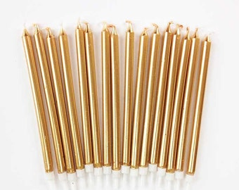 Tall Gold Birthday Candles, 16 Five-Inch Gold Tapers, Long Metallic Gold Party Birthday Cake Candles, Gold Cake Toppers