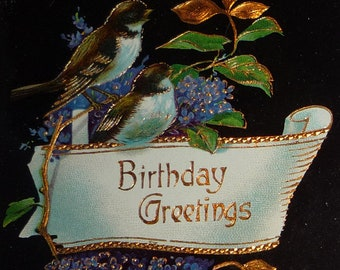 Lilacs and Sparrows Antique Gel Birthday Postcard
