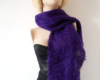 Vintage Purple Mohair Scarf - fuzzy wool wrap