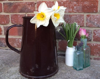 Large Vintage Brown Enamel Water Jug / Pitcher Jug