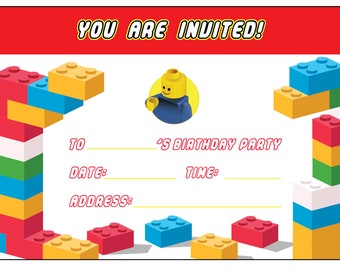 Lego inspired Birthday Party Invitation - Digital Format for you to print at home