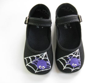 Spider Shoes, Halloween Costume or Outfit, Hand Painted Black Mary Janes with Silver Spider Web For Baby and Toddler