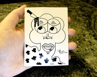 Eanung. sticker-abstract face drawing-black+white-modern art-illustration-ink