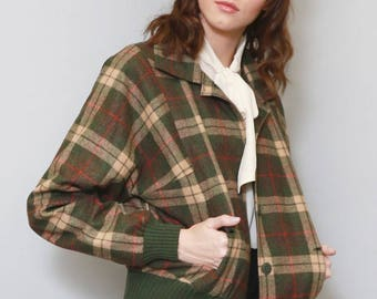 Vintage 1980's Sportalm Green & Red Checked Jacket