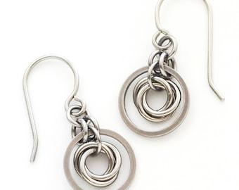 Chelsea Stainless Steel and Silver Niobium Earrings