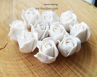 5 pcs. big  white roses, polymer clay flower bead
