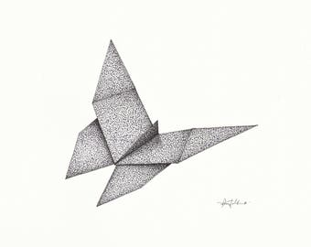 Origami Butterfly Pen And Ink Drawing With Frame