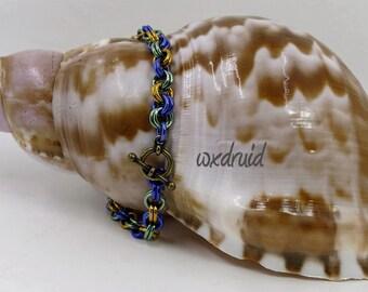 Dainty Chainmaille Wristlet, Mardi Gras Chainmail Bracelet