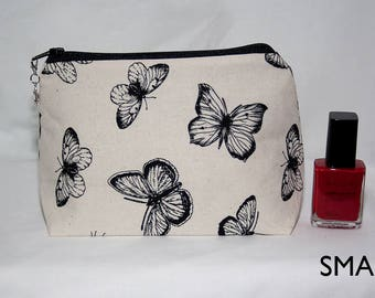 Handmade Cream and Black Butterfly Cosmetic Bag
