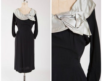 Vintage 1950s Dress • For Eternity •  Black Rayon 50s Party Dress Silver Satin Collar Size Medium