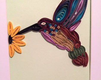 Quilled Hummingbird - Table or Wall Art