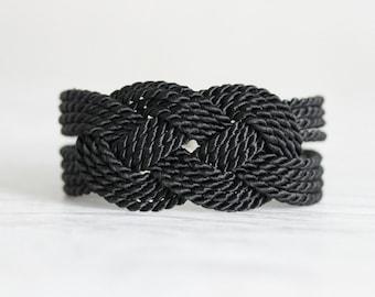 Black Knot Bracelet Knot Bracelet Rope Bracelet Black Sailor Knot Bracelet Black Nautical Bracelet Nautical Bracelet Nautical Knot Jewelry