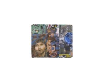 Men's Leather Bi-Fold Wallet, Billfold, Barcelona Graffiti Street Art Collage