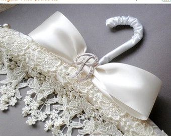 ON SALE Ivory Venice Lace Bridal Hanger. Rhinestone Initial Pin GIFT. Personalized Design. Bridal Shower. Satin Hanger. Bride Maid. Chic Pro
