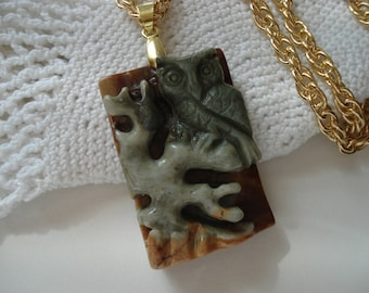 SALE Carved Genuine Picasso Jasper Owl Medicine Pendant Gold Necklace Native Tribal Inspired Totem