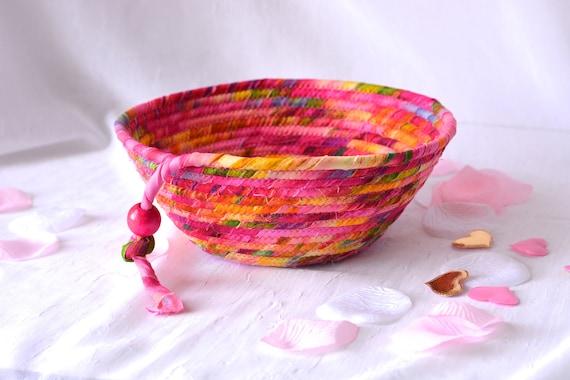 Magenta Fabric Basket, Handmade Artisan Bowl, Napkin Basket, Bread Basket, Pink Artisan Quilted Bowl, Ring Dish