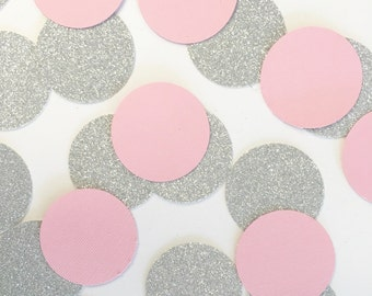 Pink+glitter silver circle confetti//confetti, table confetti, party decoration, bridal shower, baby shower, party, decoration, bachelorette