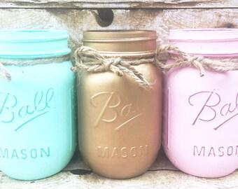 Set of 3 Hand Painted And Distressed Spring Mason Jars, Wedding Centerpieces, Rustic Decor, Spring Wedding, Mint Mason Jars, Bridal Shower!