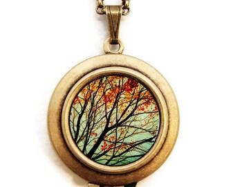 Autumns Alchemy- Fine Art Nature Photo Locket Necklace