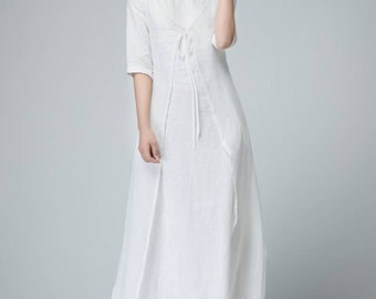 White linen dress, linen dress, linen wrap dress, womens dress, long linen dress, loose linen dress, linen summer dress, handmade dress 1485