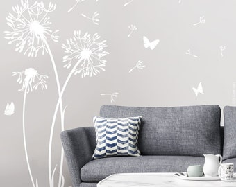 Walltattoo Flower with 23 seed and 5 butterflies dandelion Wall sticker wall sticker Dandelion Wall Decal Vinyl Decor w302