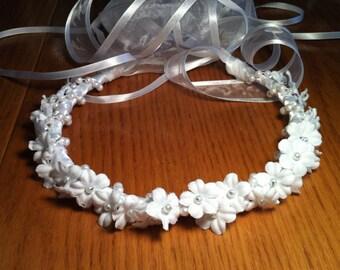 Communion Crown - First Holy Communion Flower & Faux Pearl Bridal Girl Floral Ribbon Halo Piece Wreath Garland white ivory C-Elizabeth