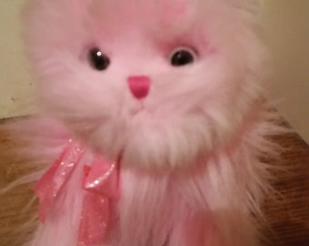 Ty Pink Angora Cat, Fluffy Cat. Soft and Cuddly. Rare find