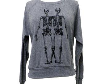 Skeleton Raglan Sweatshirt - Anatomical Skeletons American Apparel SOFT vintage feel - Available in sizes S, M, L