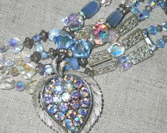 Vintage Lisner blue aurora borealis crystal necklace pendant