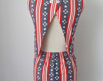 1970's, Festival, Red, White, And Blue, Stars And Stripes, 2 Piece Shorts And Top Set