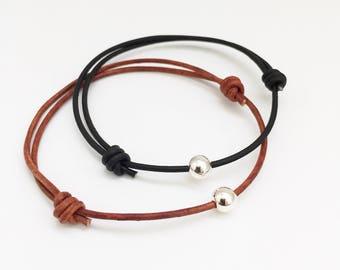 Minimal Bracelet sterling silver bracelet leather adjustable bracelet Beads Simple Bracelet Mens Gift for Men Gift for Women Gift for Son