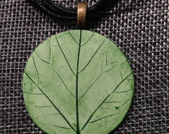 Polymer Clay Necklace / Natural Leaf / Green Statement Pendant / Unique / Handmade