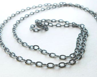 Oxidized Sterling Silver Necklace Chain, Antiqued Silver Long Textured Cable Chain 2.8 x 4mm, 18 to 36 inches
