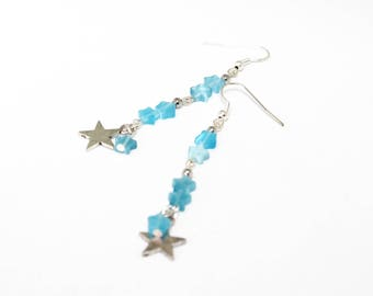 Blue and silver stars earrings