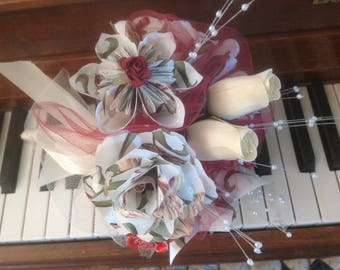 Wine and Roses Paper Origami Flower Bouquet
